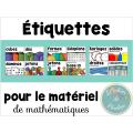 Étiquettes pour matériel mathématiques