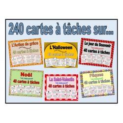 240 cartes à tâches inférentielles (thèmes variés)