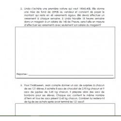 10 problèmes écrits + , - , x , / (décimaux #2)