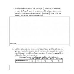 10 problèmes + , - , x , / (nbs fractionnaires #1)