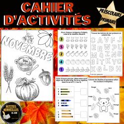 Cahier d'activités Novembre -Préscolaire-1ère-2e