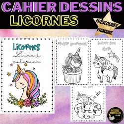 Cahier de dessins à colorier- Coloriage Licornes