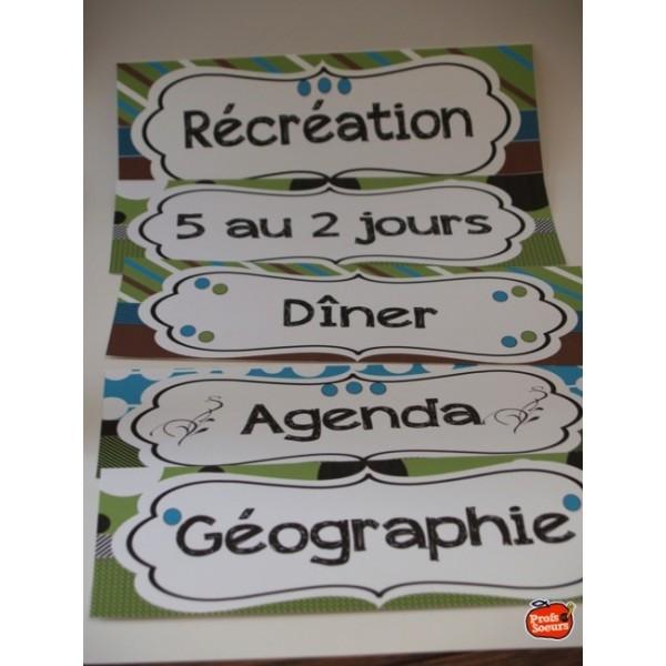 Calendrier de classe et horaire de journée