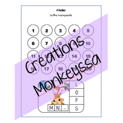 carte à tâche - lettre manquante - singe