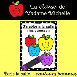 Écris/Colorie la salle-les pommes