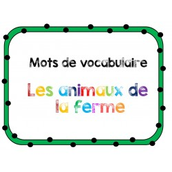 mot de vocabulaire de la ferme