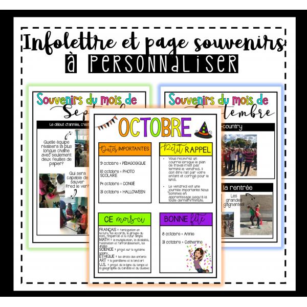 Infolettre et page souvenirs à personnaliser
