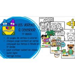 Verbes à colorier - 5e année