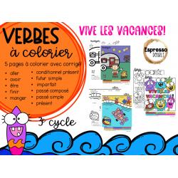 Verbes à colorier- 3e cycle- spécial fin d'année