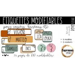 Étiquettes modifiables - Boho fleuri
