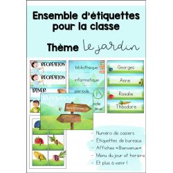 Ensemble d'étiquettes pour la classe - LE JARDIN