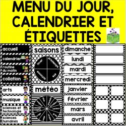 Menu du jour, calendrier, étiquettes NOIR ET BLANC