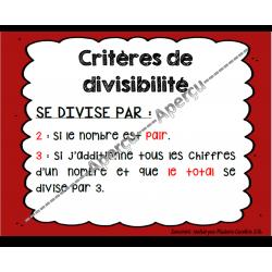 affiches sur les critères de divisibilité
