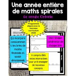 Maths en spirale de 6e (l'Ontario 2020)