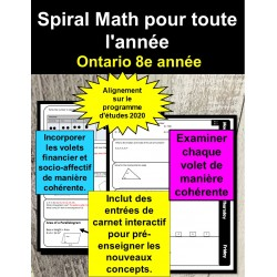Maths en spirale 8e année (Ontario 2020)