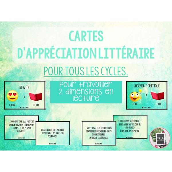 Cartes d'appréciation littéraire