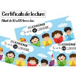 Certificats de lecture - Livres lus