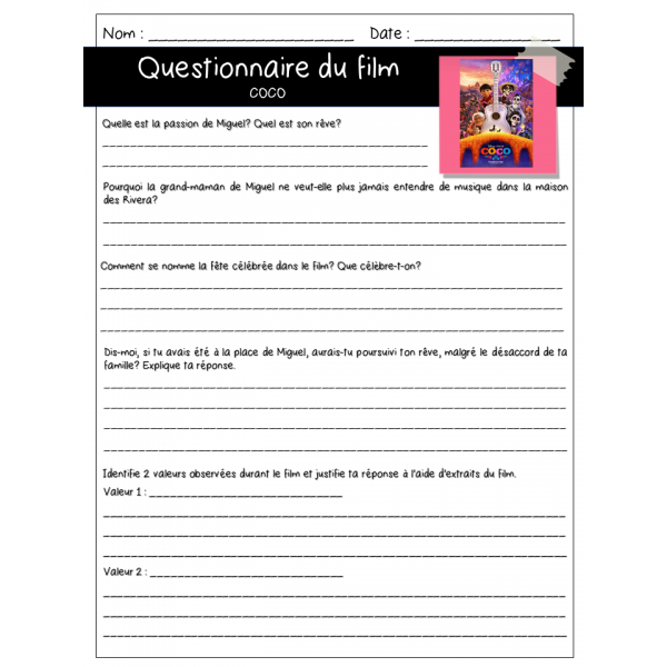 Questionnaire de film - Coco