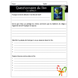 Questionnaire de film - Le Grinch