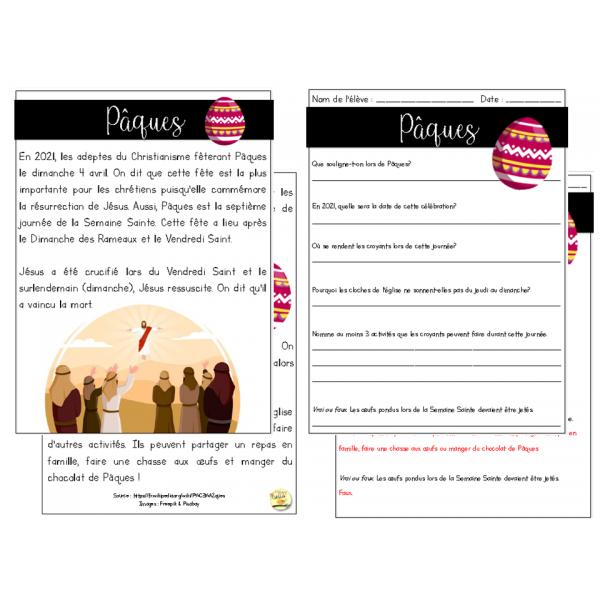 Pâques - texte et questions