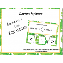 Cartes à pinces - Équivalence d'équations