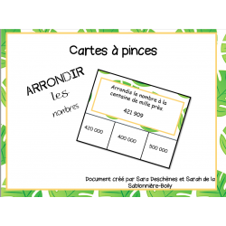 Cartes à pinces- Arrondir des grands nombres