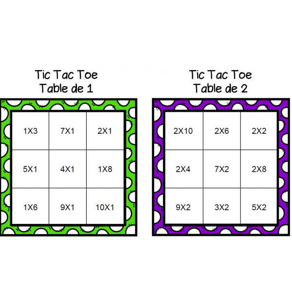 Jeu de multiplications - Tic Tac Toe