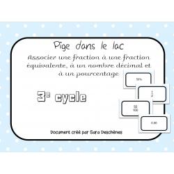 Jeu fractions, nombres décimaux et pourcentage