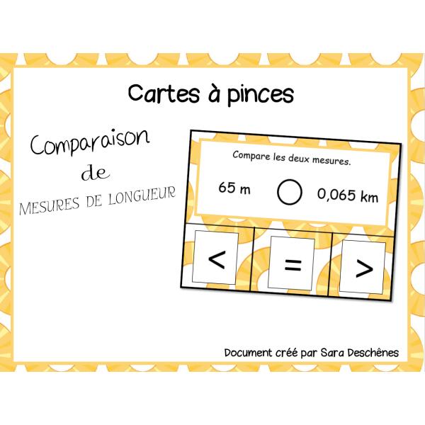 Cartes à pince- Comparaison de mesures de longueur