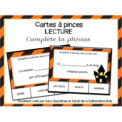 Cartes à pinces - Phrases d'Halloween
