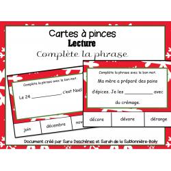 Cartes à pinces - Phrases de Noël