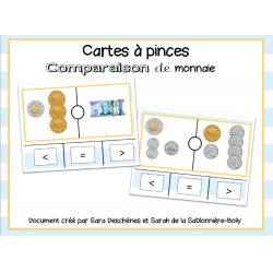 Cartes à pinces - Comparer la monnaie