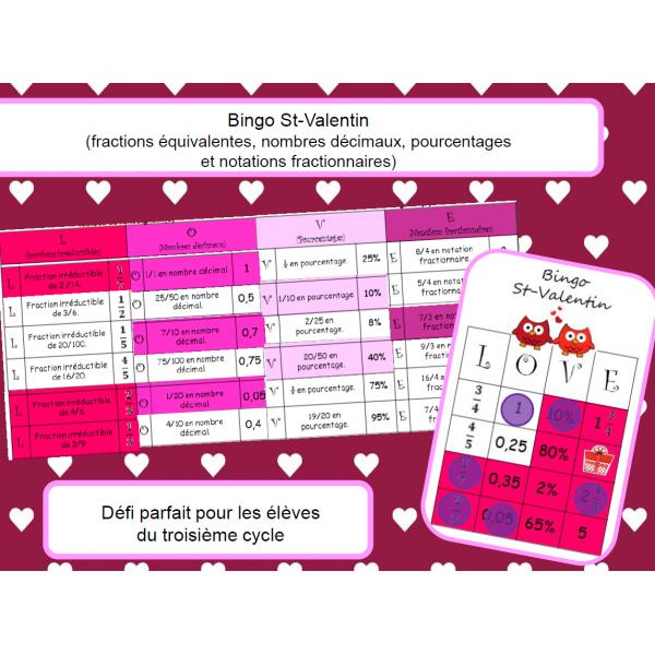 Bingo des fractions, % et nombres décimaux