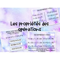 Propriétés d'opération: Leçon et cartes à tâches