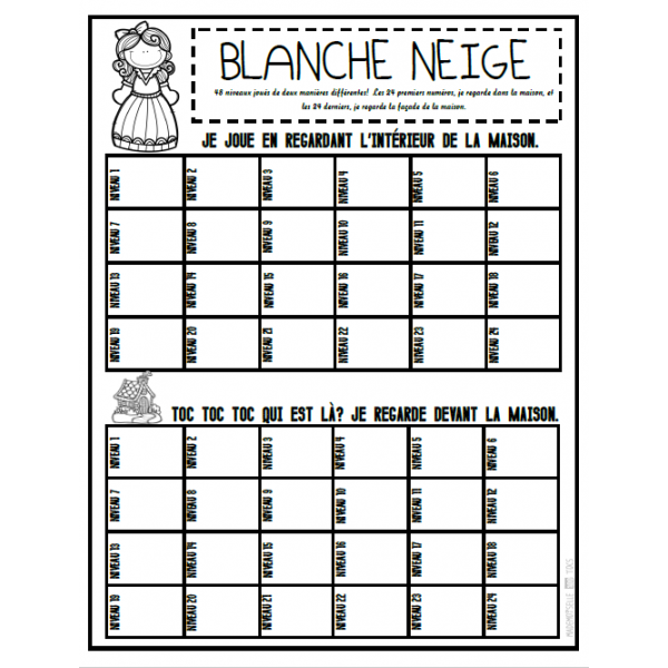 "Fiche ""Blanche-Neige"""