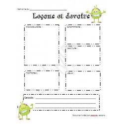 Journal de bord - Agenda -Devoirs
