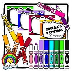 Couleurs et crayons (cartes & cliparts)