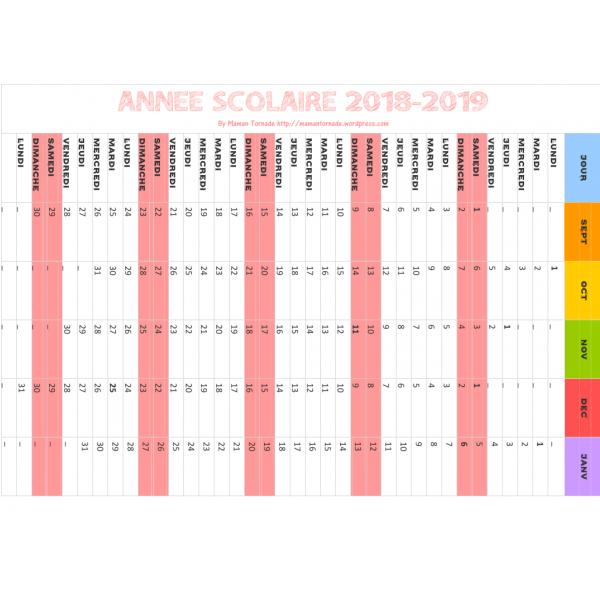 Calendex calendrier 2018-2019