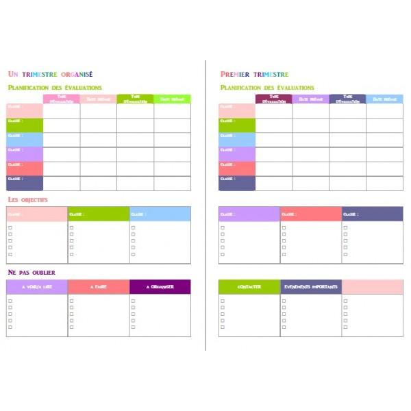 fiches trimestre, mois et semaine organisées
