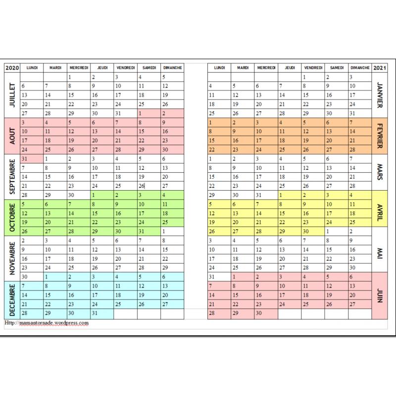 Calendrier Garde Classique 2022 Calendrier 2020 2021 2022(juin) HORIZONTAL
