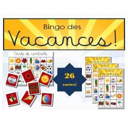 Bingo des vacances imagé! -été-