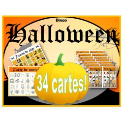 Bingo d'Halloween imagé!