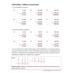 Additions et soustractions - Corrigé