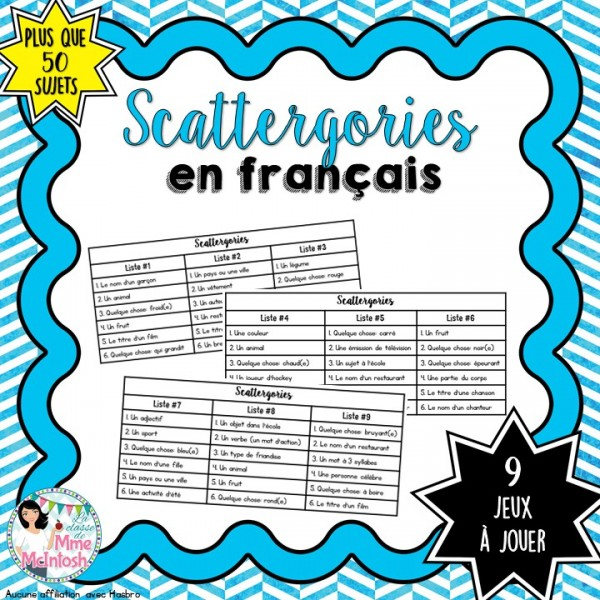 Jeu amusant - Scattergories