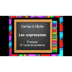 Les expressions, cartes à tâche