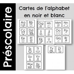 Cartes de l'alphabet - version noir et blanc