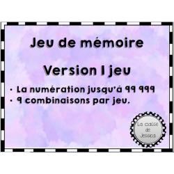 Jeu de mémoire numération