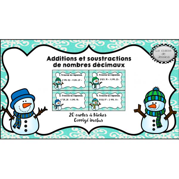 additions et soustractions de nombres décimaux