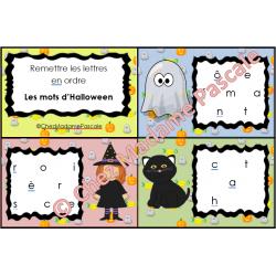 Cartes à tâches - Replacer les lettres - Halloween
