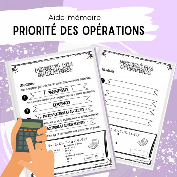Aide-mémoire - Priorité des opérations